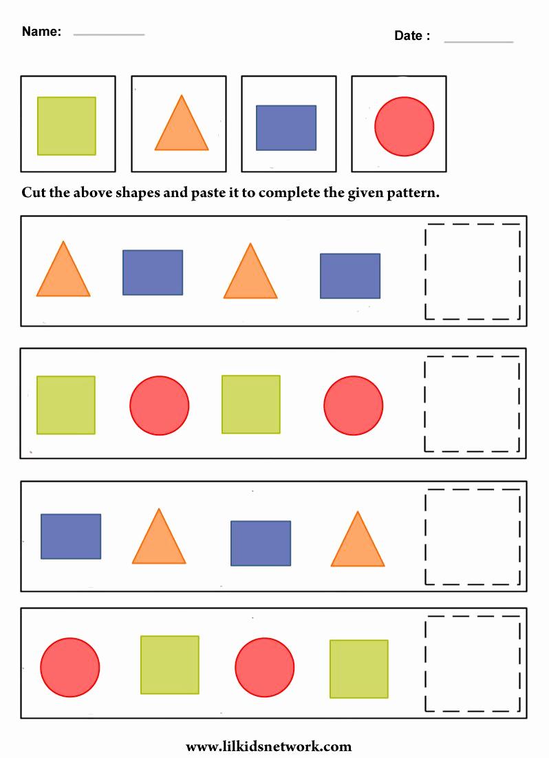 Geometric Shape Pattern Worksheets Luxury Kindergarten Patterns Worksheet Kindergarten