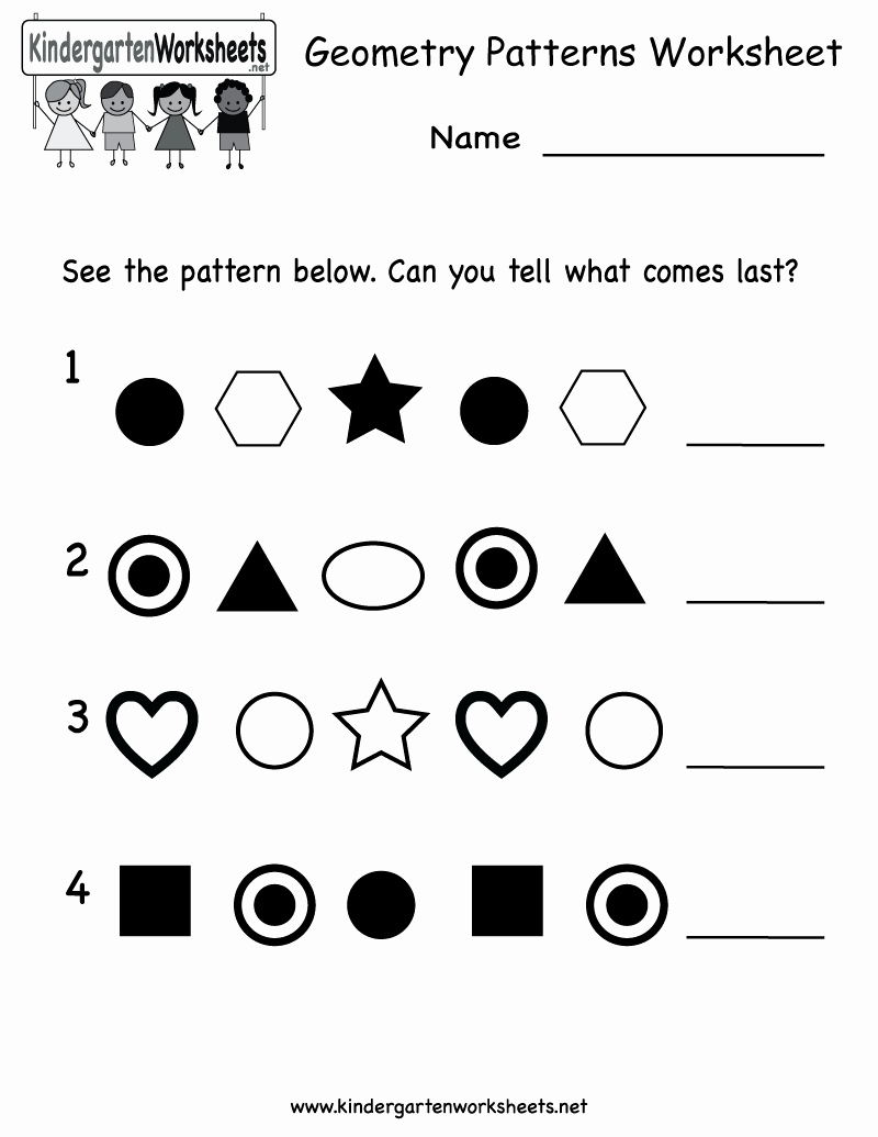 Geometric Shape Patterns Worksheet Elegant Kindergarten Geometry Patterns Worksheet Printable