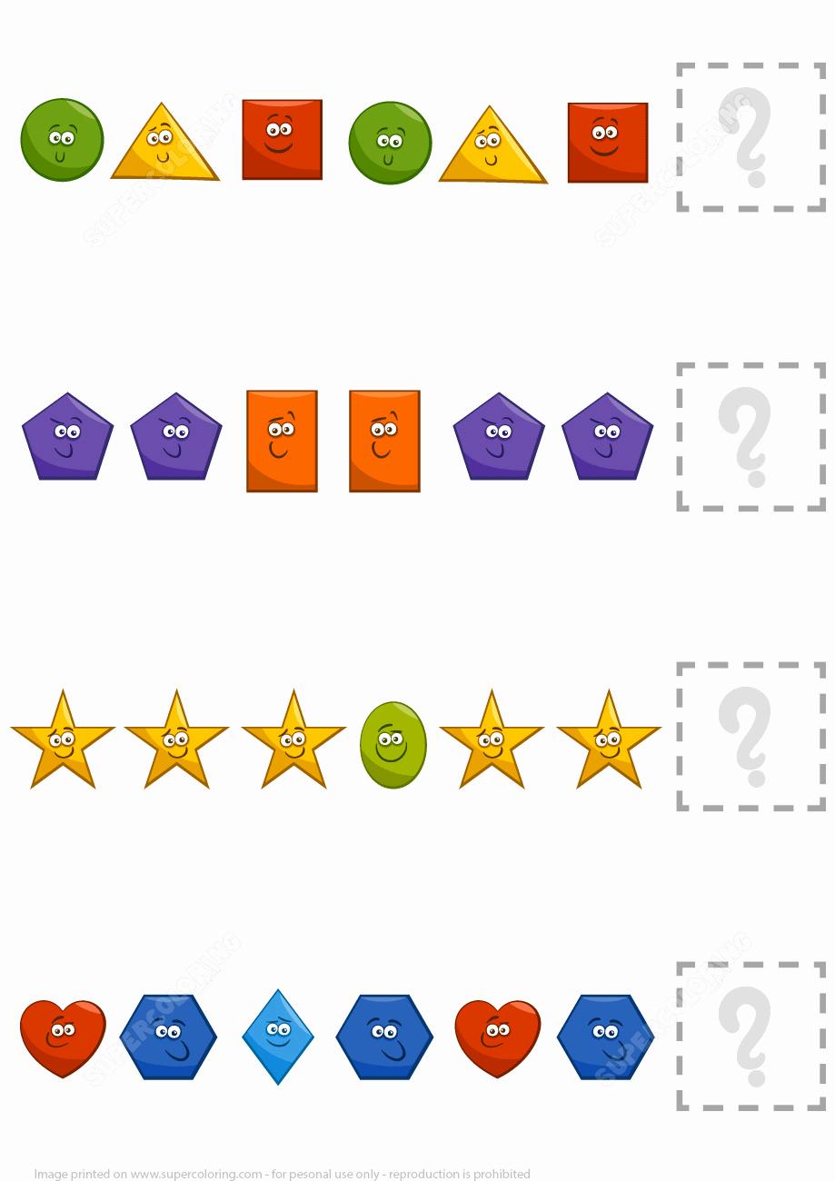 Geometric Shape Patterns Worksheet Elegant Plete the Pattern Worksheet with Basic Geometric Shapes