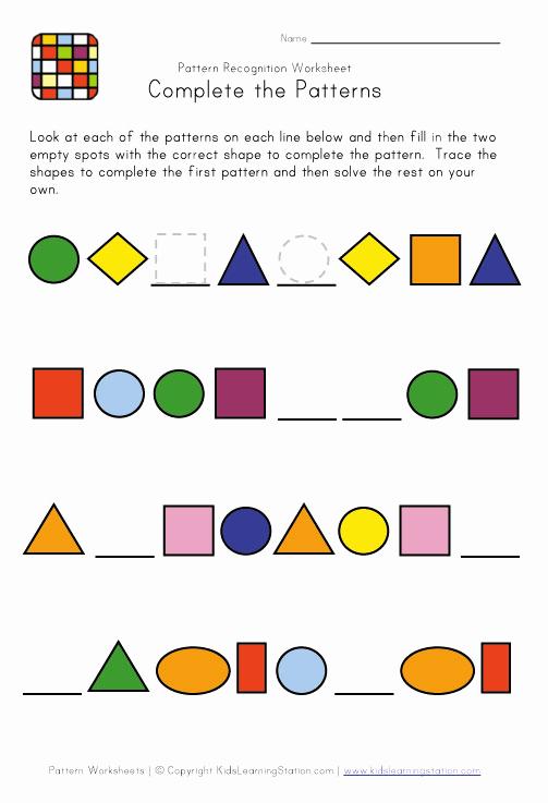 Geometric Shape Patterns Worksheet Elegant Shape Pattern Worksheets Free Patterns