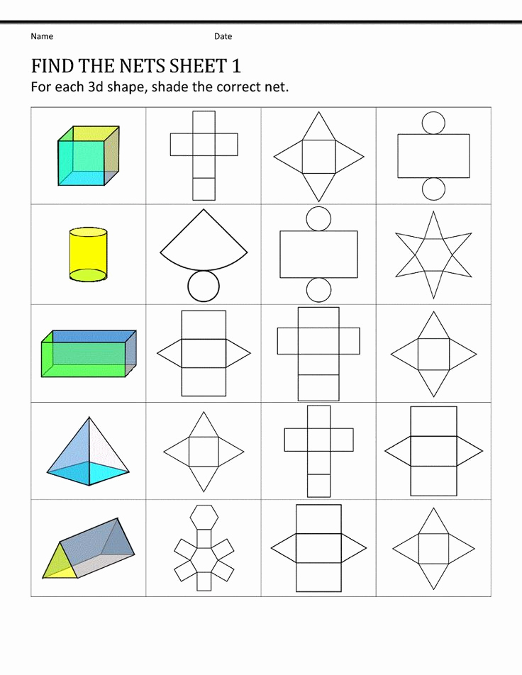 Geometric Shape Patterns Worksheet Inspirational Shape Nets for Easy 3d Pattern Shapes