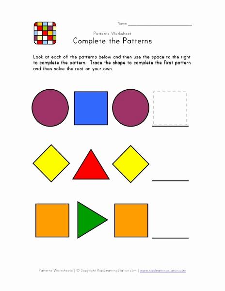 Geometric Shape Patterns Worksheet Lovely Plete the Patterns Geometric Shapes Worksheet for