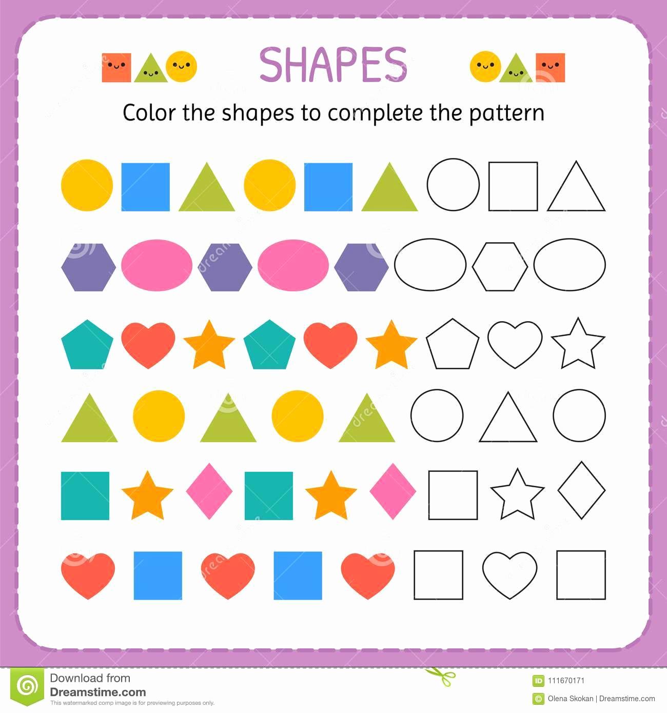 Geometric Shape Patterns Worksheet Lovely Shape Pattern Worksheet