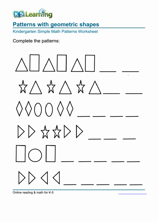 Geometric Shape Patterns Worksheet Luxury Patterns with Geometric Shapes Kindergarten Simple Math