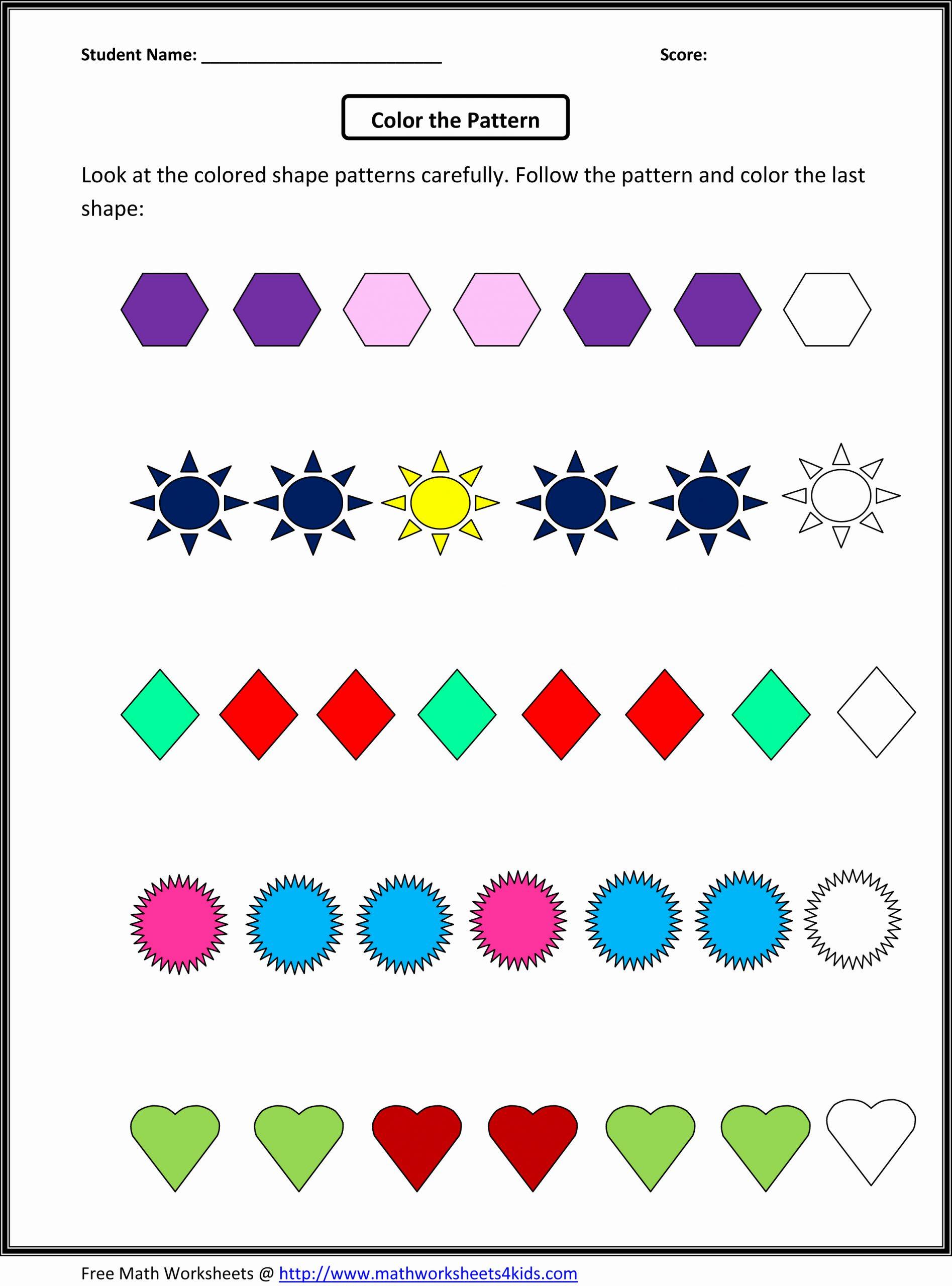 Geometric Shape Patterns Worksheet New Math Patterns Grade 4 Free Patterns