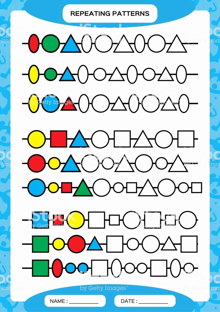 Geometric Shapes Patterns Worksheets Beautiful Geometric Shape Patterns Worksheet Plete Repeating
