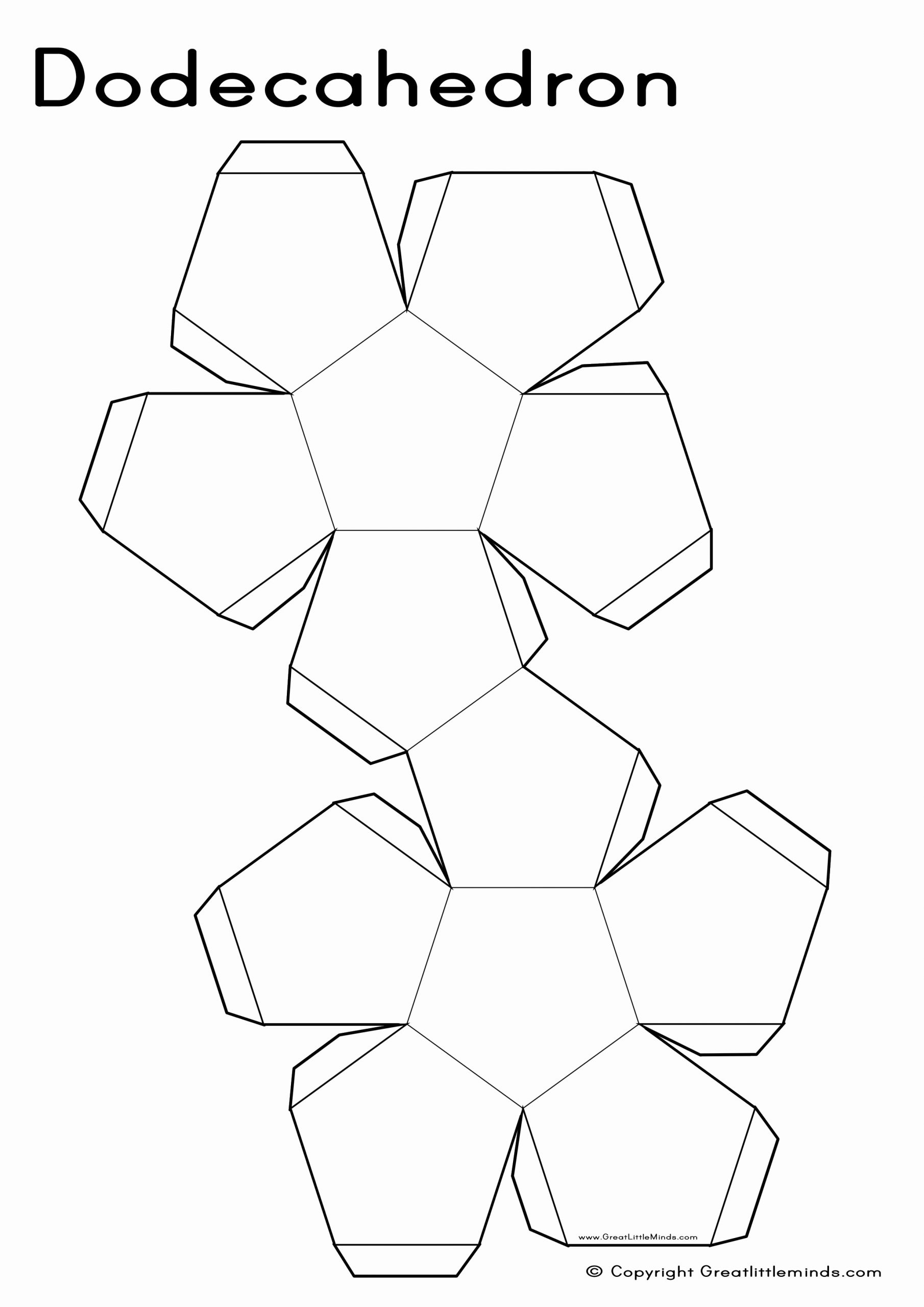 Geometric Shapes Patterns Worksheets Lovely 3d Nets Dodecahedron A4 2480×3508