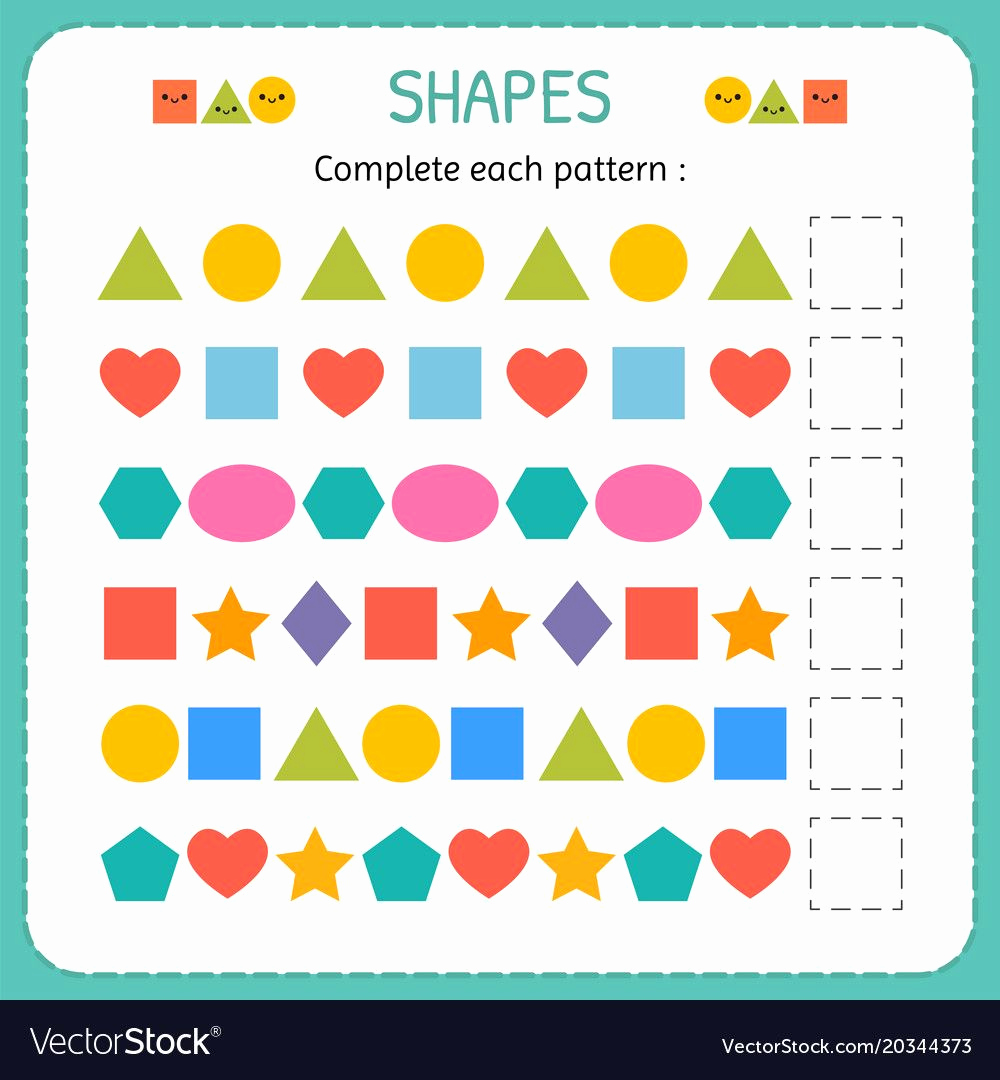 Geometric Shapes Patterns Worksheets Lovely Plete Each Pattern Learn Shapes and Geometric Figures