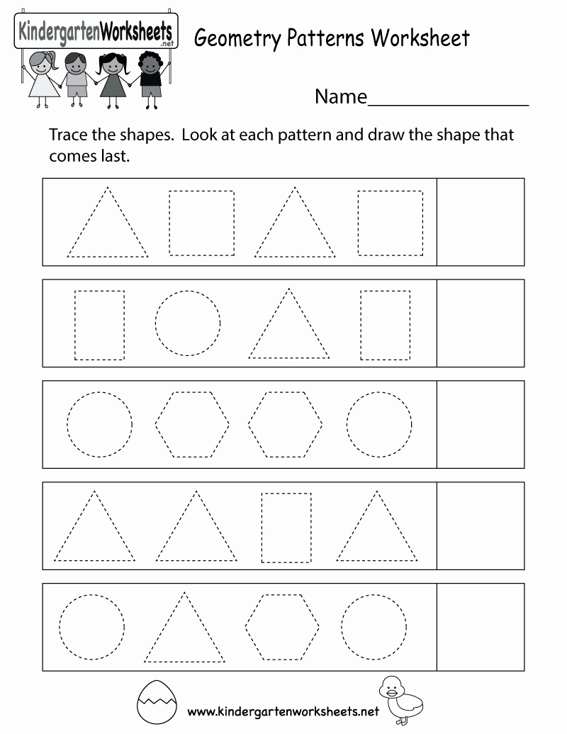 Geometric Shapes Patterns Worksheets Unique Geometry Patterns Worksheet Free Kindergarten Math