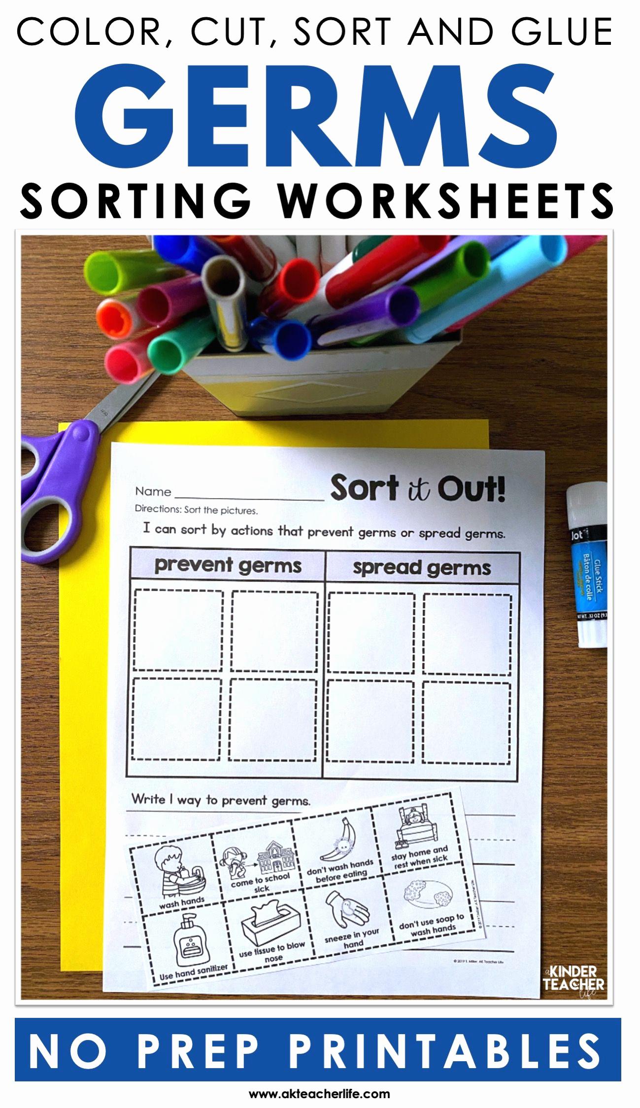 Germs Worksheets for Kindergarten Luxury Germs sort