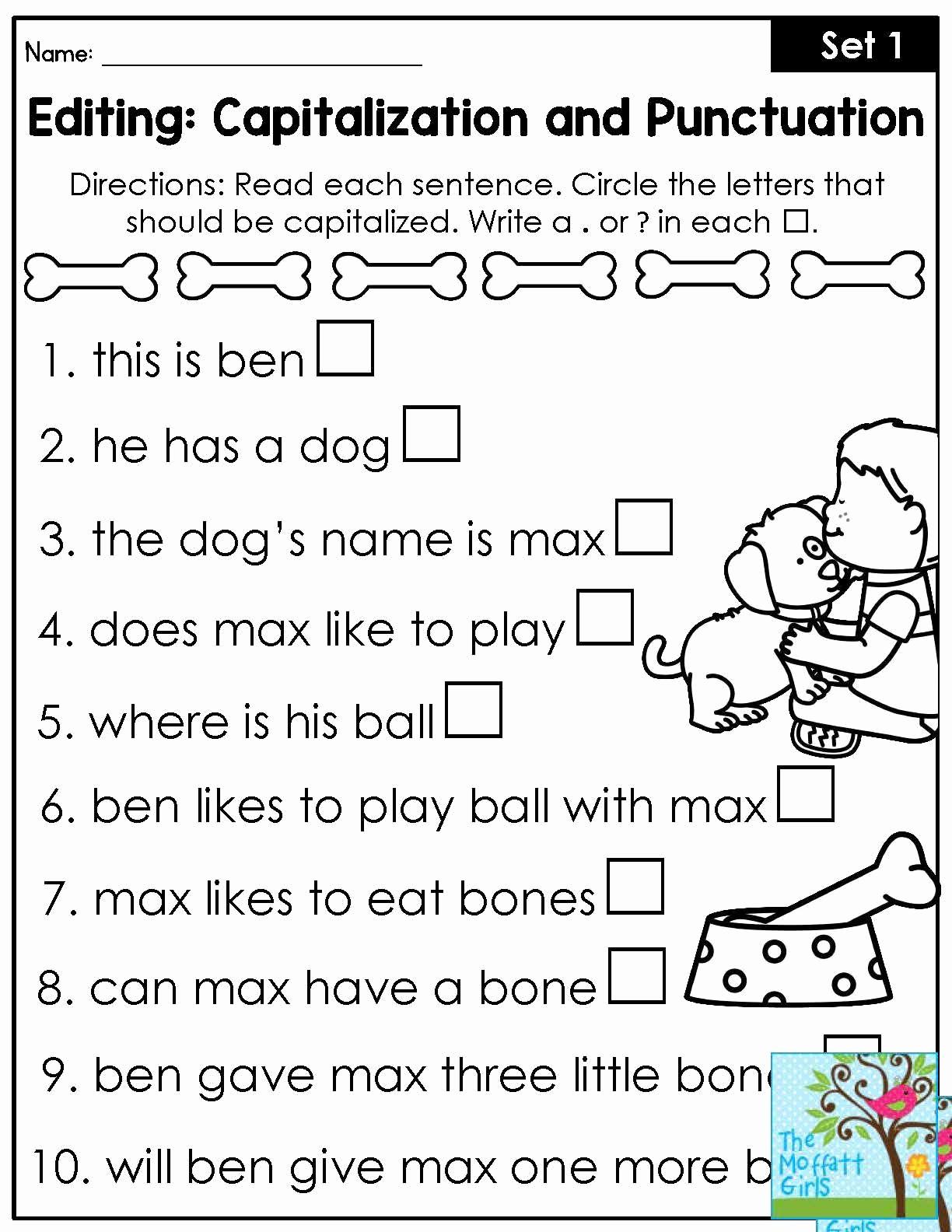 Grammar Worksheet 1st Grade Fresh First Grade Capitalization Worksheets