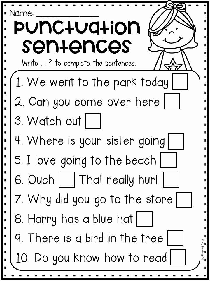Grammar Worksheet 1st Grade New Printable First Grade Punctuation Worksheets for Grade 1