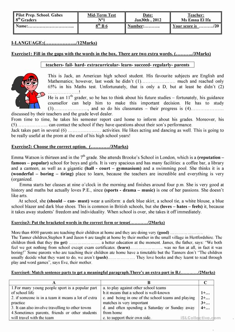 Grammar Worksheets for 8th Graders Beautiful Test for 8th Graders Worksheet Free Esl Printable