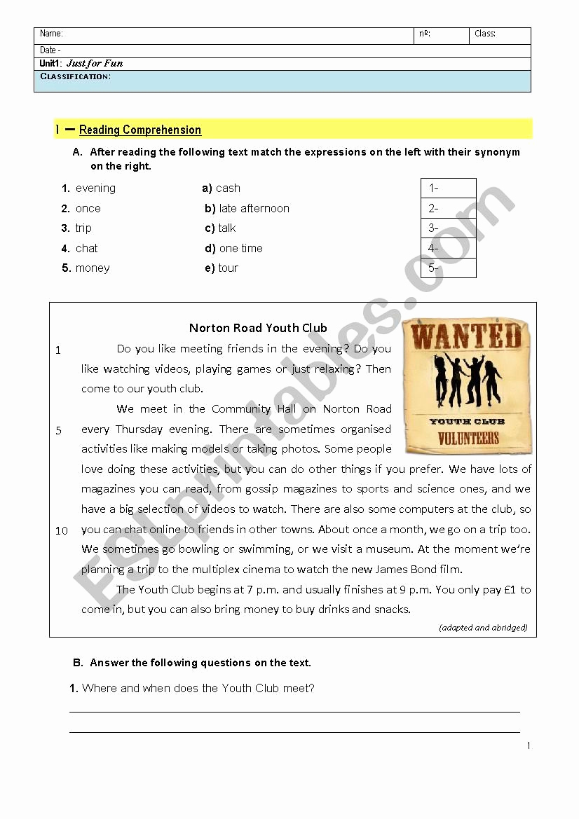 Grammar Worksheets for 8th Graders Fresh Just for Fun 8th Grade English Test Esl Worksheet by