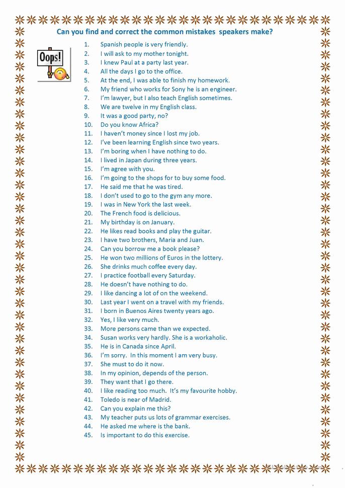 Grammatical Error Worksheets Beautiful Write the Correct Time Worksheet Free Esl Printable