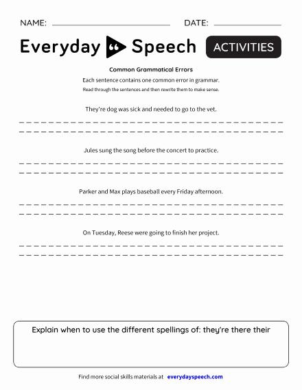 Grammatical Error Worksheets Best Of Worksheets