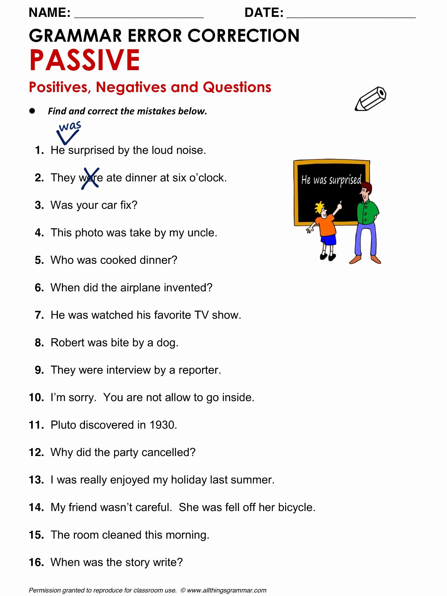 Grammatical Error Worksheets Elegant English Grammar Grammar Error Correction Passive