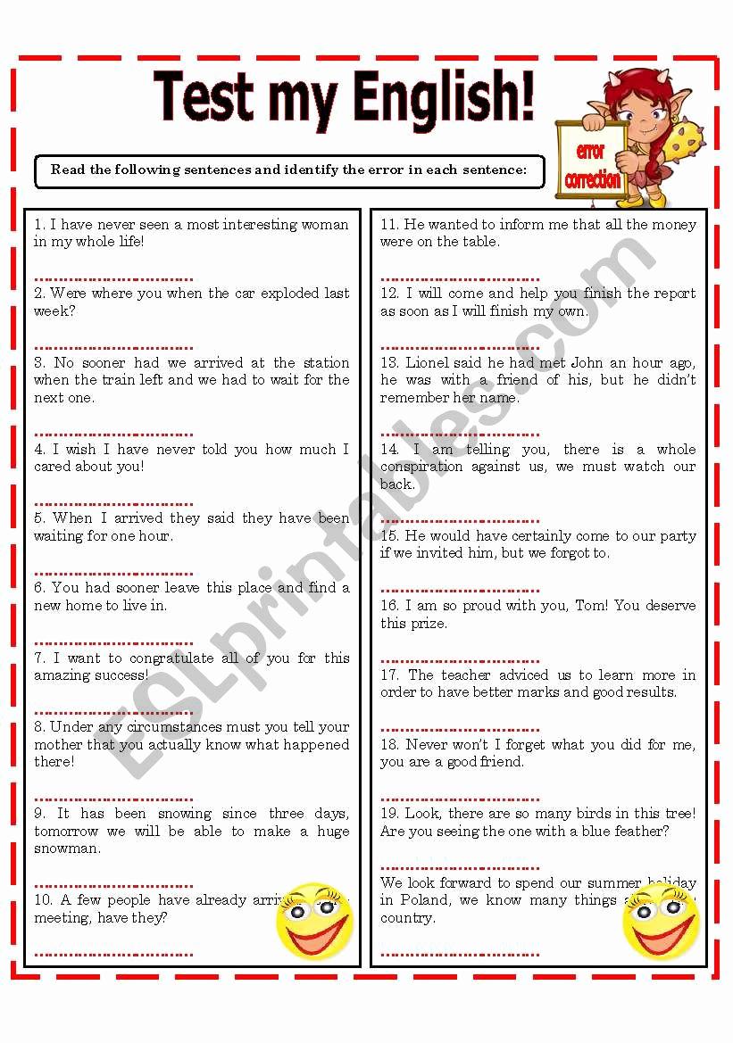 Grammatical Error Worksheets Fresh Test My English Error Correction Esl Worksheet by