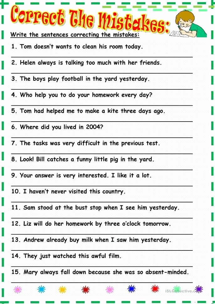 Grammatical Error Worksheets Inspirational Correct the Mistakes
