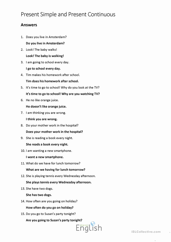 Grammatical Error Worksheets Inspirational Present Simple Continuous Error Correction with Answers