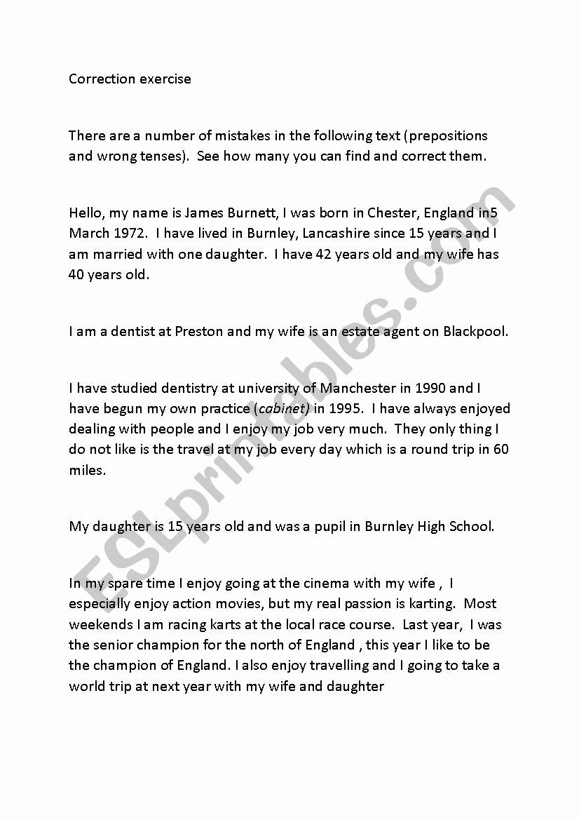 Grammatical Error Worksheets Luxury Correction Of Grammar Errors Esl Worksheet by Fedbet