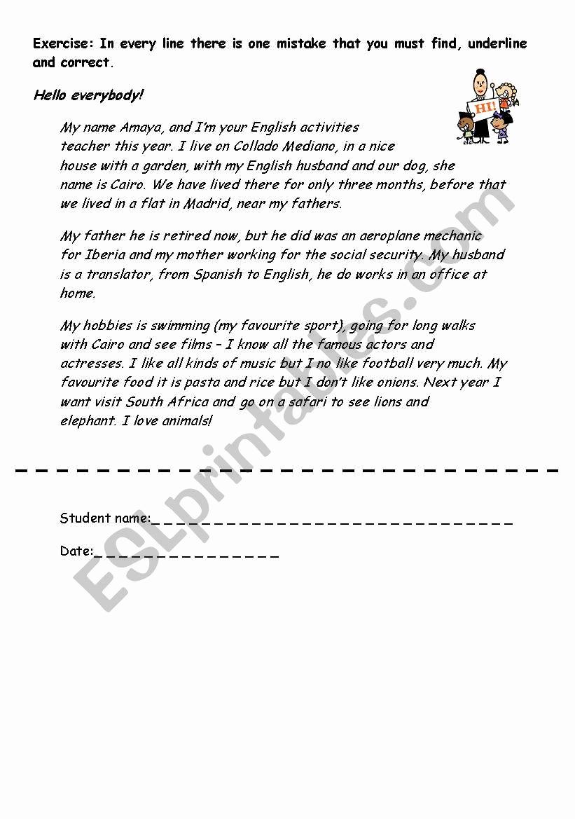 Grammatical Error Worksheets Luxury Error Correction Letter Esl Worksheet by Canicas