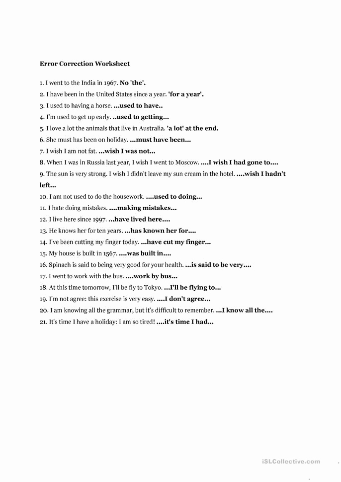 Grammatical Error Worksheets New Error Correction Worksheet with Images