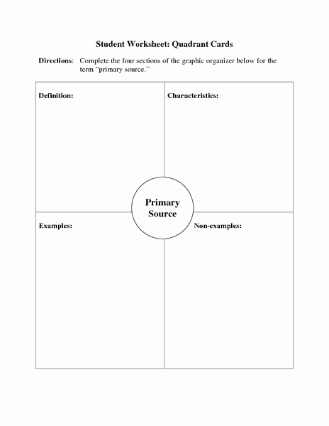Graphic sources Worksheets Best Of Primary source Quadrant Cards Graphic organizer for 6th