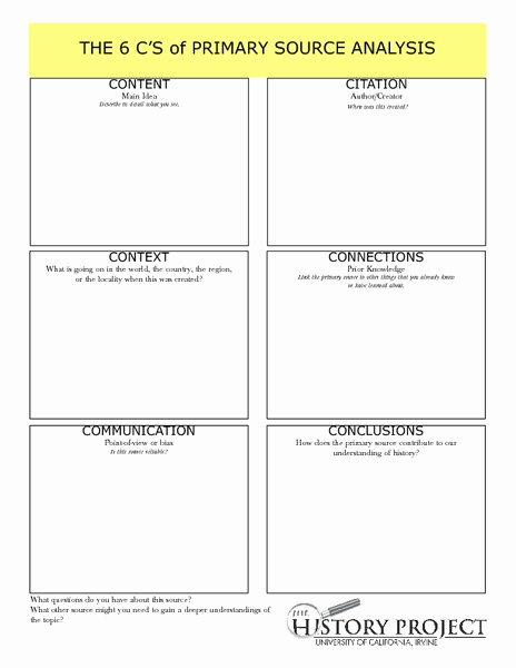 Graphic sources Worksheets Best Of the 6 C S Of Primary source Analysis Graphic organizer for