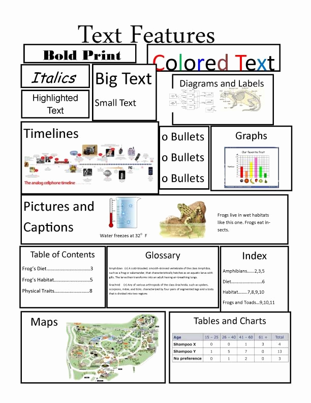 Graphic sources Worksheets Inspirational Text Features Handout Prehensive Skill