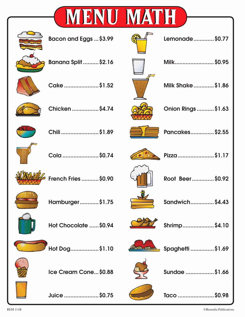 Grocery Shopping Math Worksheets Best Of Menu Math for Beginners 6 Extra Menus