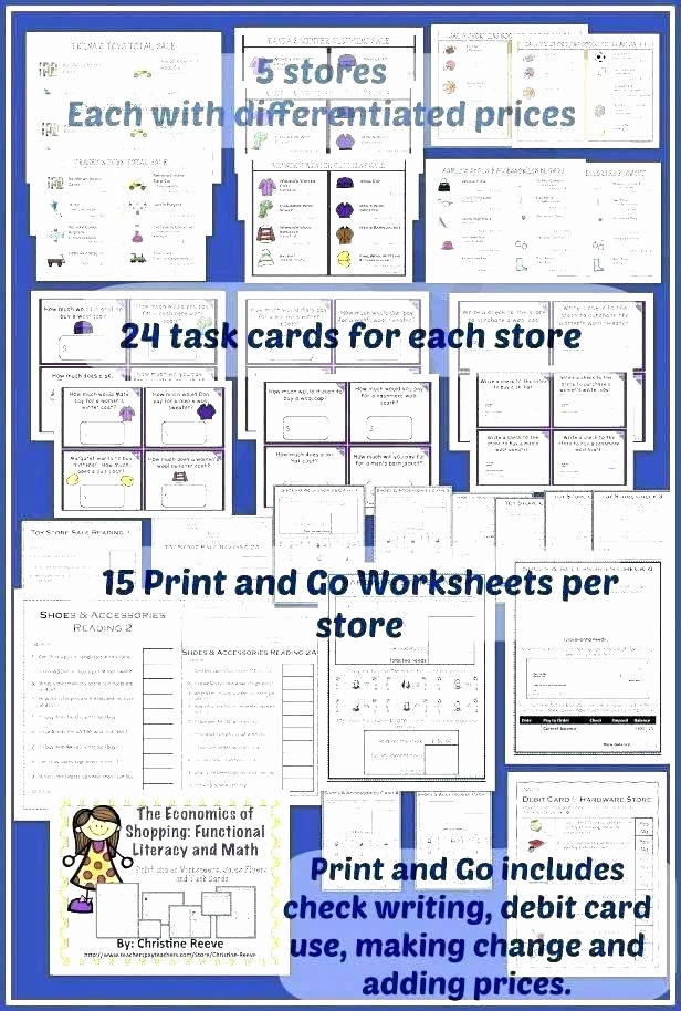 Grocery Shopping Math Worksheets Luxury Grocery Store Math Worksheets Special Ed Math Worksheets