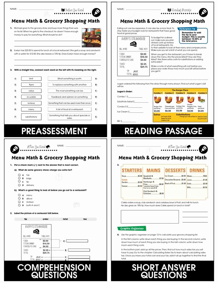 Grocery Shopping Math Worksheets New Grocery Shopping Math Worksheets Daily Marketplace Skills
