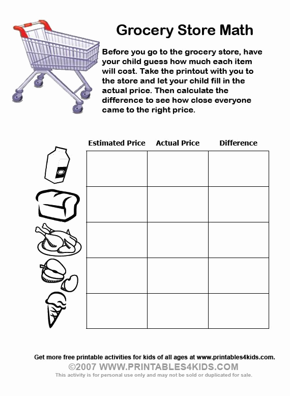 Grocery Shopping Math Worksheets New Grocery Store Math School Math Pinterest