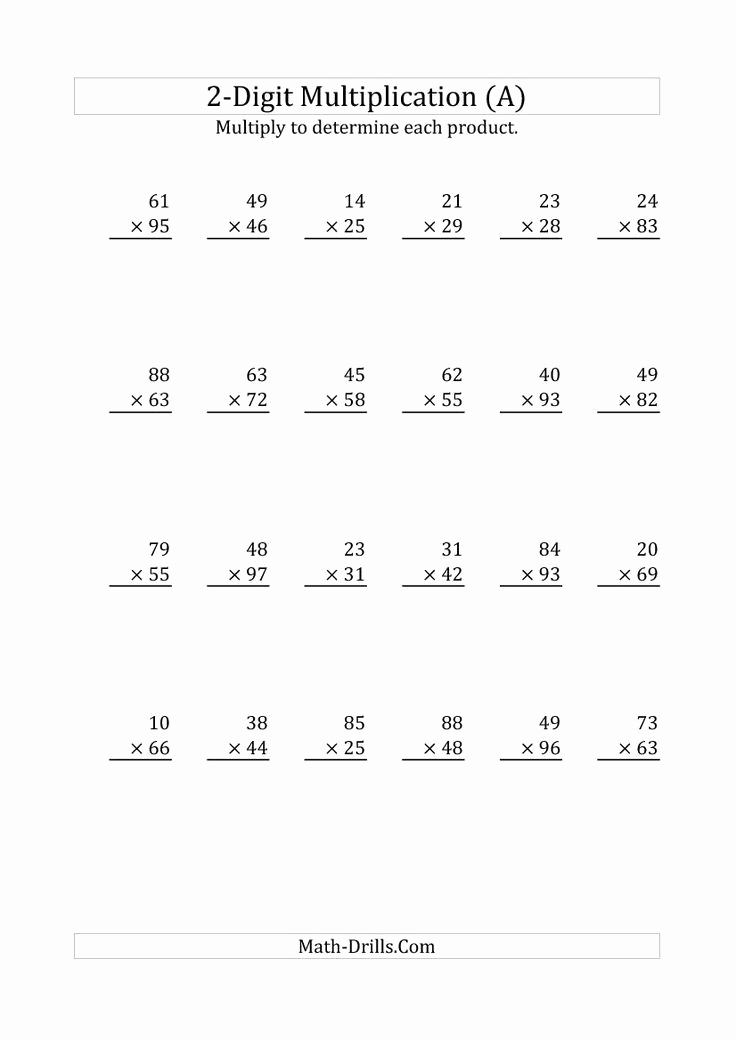 Hard Multiplication Worksheets Beautiful Hard Multiplication 2 Digit Problems