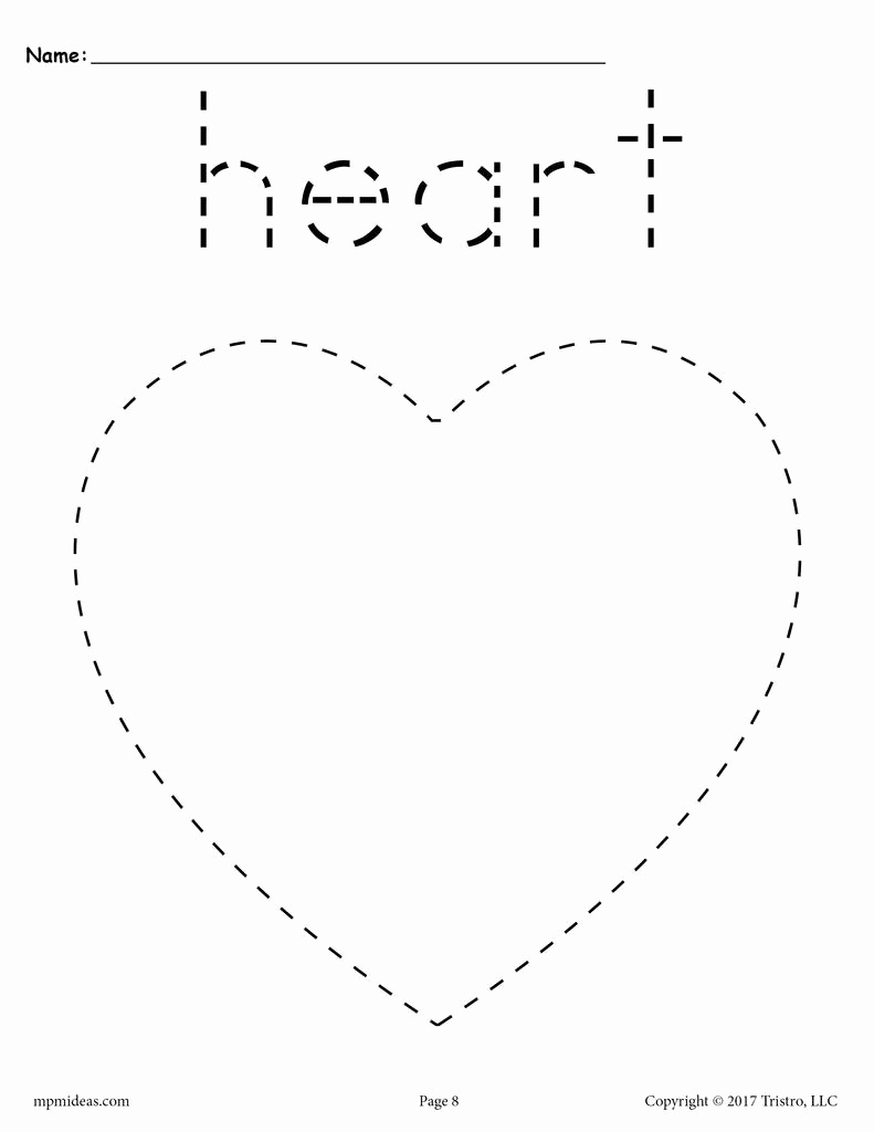 Heart Coloring Worksheet Awesome Heart Tracing Worksheet Printable Tracing Shapes