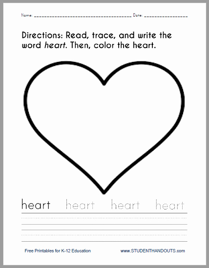 Heart Coloring Worksheet Best Of Heart Coloring and Writing Worksheet