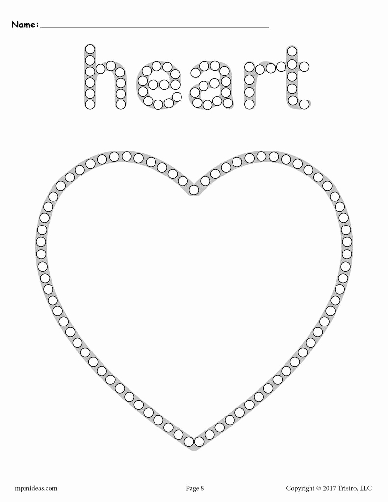 Heart Coloring Worksheet Best Of Heart Q Tip Painting Printable Heart Worksheet