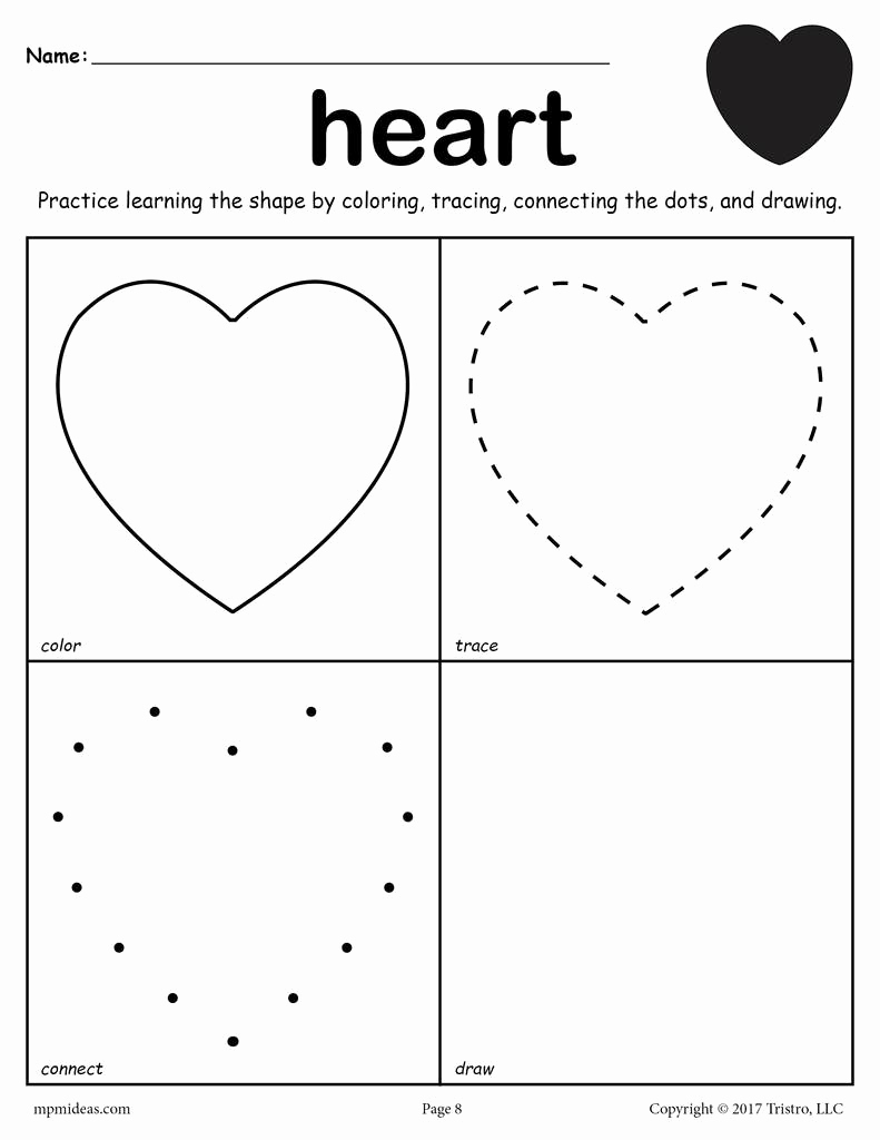 Heart Coloring Worksheet Elegant Heart Worksheet Color Trace Connect & Draw – Supplyme
