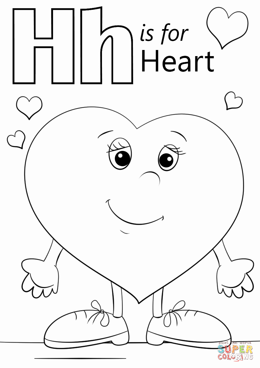 Heart Coloring Worksheet Fresh Letter H is for Heart Coloring Page