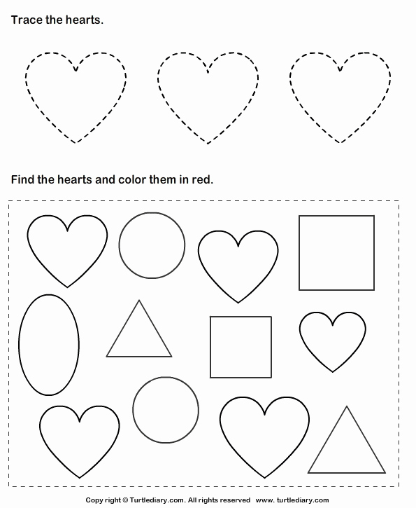 Heart Coloring Worksheet Fresh Trace Hearts and Color them Worksheet Turtle Diary
