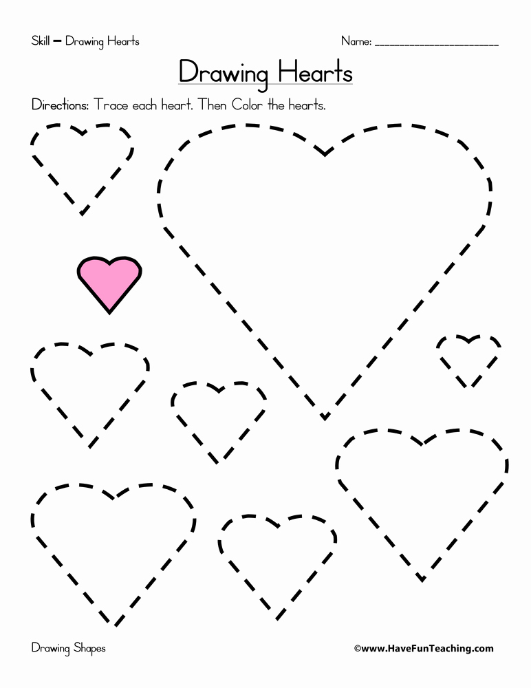 Heart Coloring Worksheet Lovely Drawing Hearts Worksheet • Have Fun Teaching