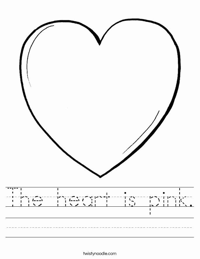 Heart Coloring Worksheet Luxury the Heart is Pink Worksheet Twisty Noodle