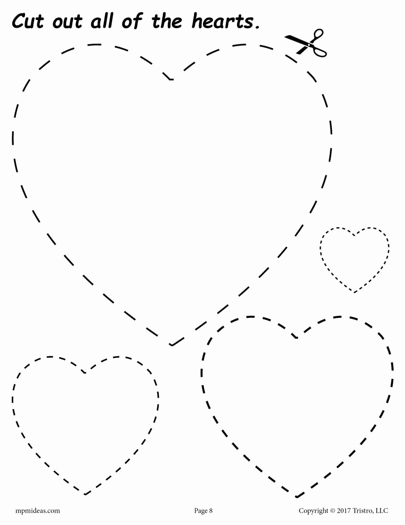 Heart Coloring Worksheet New Hearts Cutting Worksheet Hearts Tracing & Coloring Page