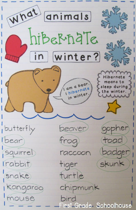Hibernation Worksheets for Preschool Awesome First Grade Schoolhouse January 2013