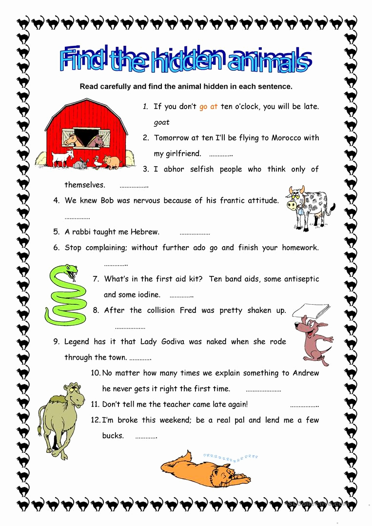 Hidden Animal Pictures Worksheets Awesome Find the Hidden Animals Worksheet Free Esl Printable