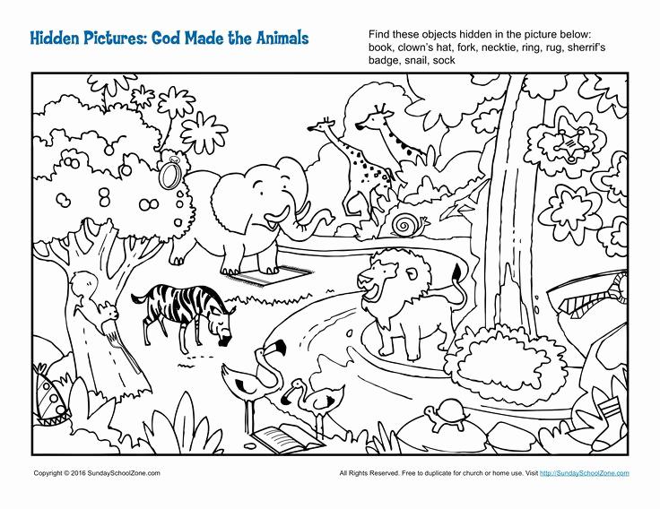 Hidden Animal Pictures Worksheets Elegant God Made the Animals Hidden Children S Bible