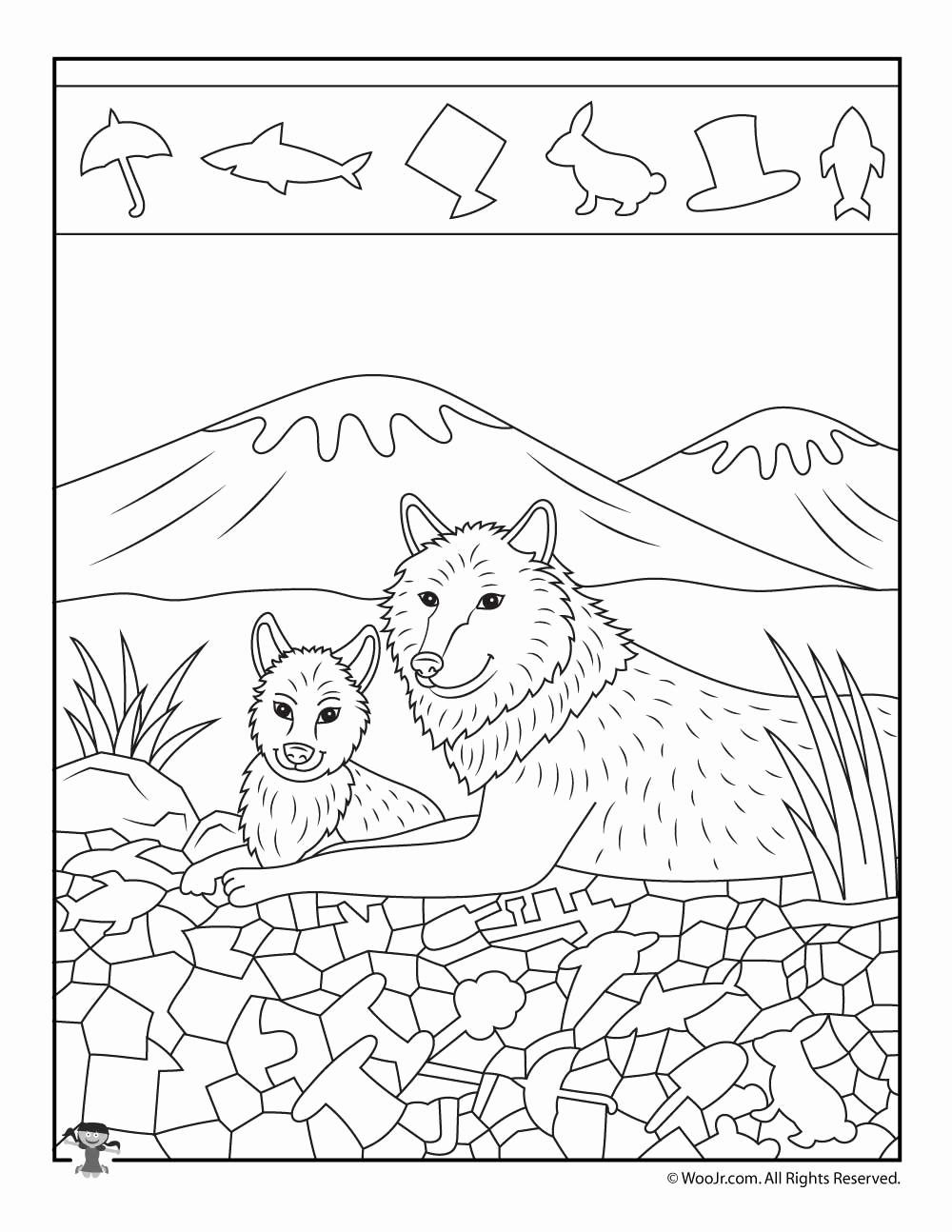 Hidden Animal Pictures Worksheets Elegant Wolf Hidden Picture Printable