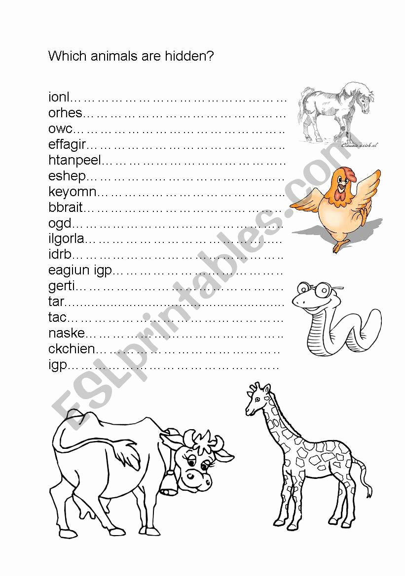 Hidden Animal Pictures Worksheets Fresh Hidden Animals Esl Worksheet by Reginesophie