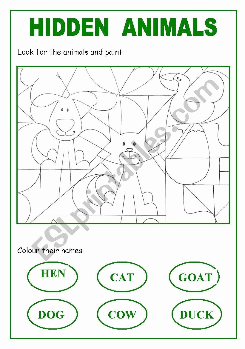 Hidden Animal Pictures Worksheets Inspirational Hidden Animals Esl Worksheet by Esba
